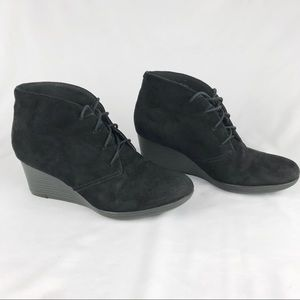 Clark's black suede wedge booties.